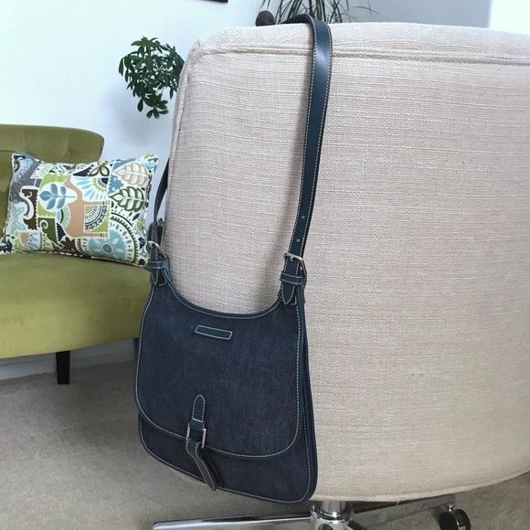 Dooney & Bourke Handbags - Dooney & Bourke Saddlebag Slim Bag Denim Leather
